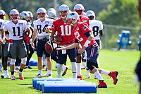July 28, 2017: New England Patriots quarterback Tom Brady (12) works on a footwork drill at the New England Patriots training camp held at Gillette Stadium, in Foxborough, Massachusetts. Eric Canha/CSM