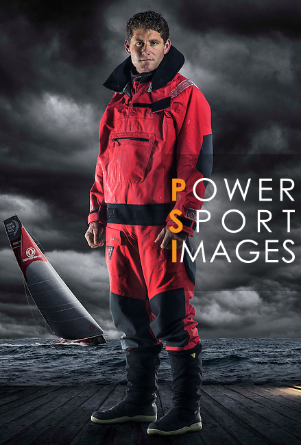 Dongfeng Race Team skipper Charles Caudrelier poses during the official photo session at the Serenity Marina in Sanya, China on 21 February 2014. Photo by Victor Fraile / Power Sport Images