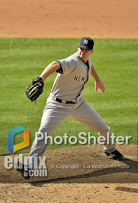 17 June 2012: New York Yankees pitcher Boone Logan on the mound against the Washington Nationals at Nationals Park in Washington, DC. The Yankees defeated the Nationals 4-1 to sweep their 3-game series. Mandatory Credit: Ed Wolfstein Photo
