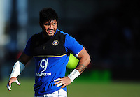 Amanaki Mafi of Bath Rugby looks on during the pre-match warm-up. Aviva Premiership match, between Exeter Chiefs and Bath Rugby on February 28, 2016 at Sandy Park in Exeter, England. Photo by: Patrick Khachfe / Onside Images