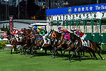 Jockeys riding their horses during Hong Kong Racing at Happy Valley Racecourse on September 05, 2018 in Hong Kong, Hong Kong. Photo by Yu Chun Christopher Wong / Power Sport Images