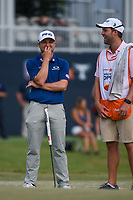 Austin Cook (USA) shares a laugh with his caddie on 18 during round 4 of the 2019 Houston Open, Golf Club of Houston, Houston, Texas, USA. 10/13/2019.<br /> Picture Ken Murray / Golffile.ie<br /> <br /> All photo usage must carry mandatory copyright credit (© Golffile | Ken Murray)