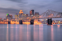 Early morning flow of Louisville form the Jerrersonville, In Ohio River side.
