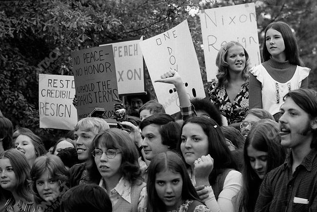 Anti-Nixon protestors outside a presidential event where Nixon spoke in Florida, November 1973