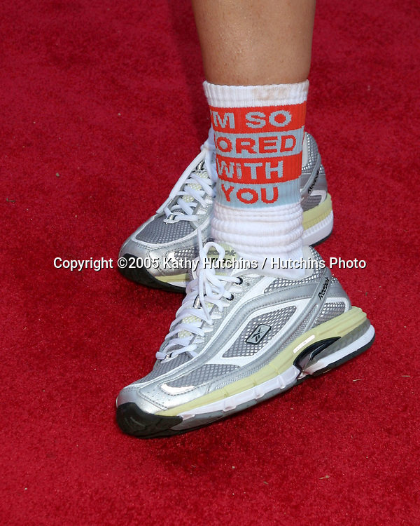 "Joely Fisher.""I'm So Bored With You"" socks.Revlon Run/Walk for Women.Los Angeles,  CA.May 7, 2005.©2005 Kathy Hutchins / Hutchins Photoi"