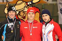 SCHAATSEN: HEERENVEEN: IJsstadion Thialf, 07-03-2008, VikingRace, Hubert Hirschbichler (GER), Koen Verweij (NED), Artur Nogal (POL), ©foto Martin de Jong