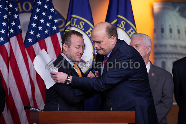 Problem Solvers Caucus Co-Chairs United States Representative Josh Gottheimer (Democrat of New Jersey) and United States Representative Tom Reed (Republican of New York), hug during a news conference regarding legislative goals for the upcoming year at the United States Capitol in Washington D.C., U.S. on Tuesday, February 11, 2020.  <br /> <br /> Credit: Stefani Reynolds / CNP/AdMedia