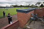 Harestanes AFC v Girvan FC, 15/08/2015. Scottish Cup preliminary round, Duncansfield Park. Home manager Paul Marshall (left) watching the first-half action as Harestanes AFC (in light blue) take on Girvan FC in a Scottish Cup preliminary round tie, staged at Duncansfield Park, home of Kilsyth Rangers. The home team were the first winners of the Scottish Amateur Cup to be admitted directly into the Scottish Cup in the modern era, whilst the visitors participated as a result of being members of both the Scottish Football Association and the Scottish Junior Football Association. Girvan won the match by 3-0, watched by a crowd of 300, which was moved from Harestanes ground as it did not comply with Scottish Cup standards. Photo by Colin McPherson.