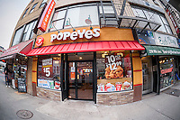 A Popeyes Louisiana Kitchen fast food restaurant in Chelsea in New York on Tuesday, February 21, 2017.  Restaurant Brands International, the parent of Burger King and Tim Hortons, will acquire Popeyes Louisiana Kitchen for $1.8 billion. (© Richard B. Levine)