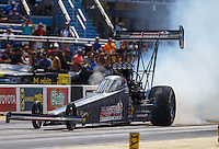 Jul 9, 2016; Joliet, IL, USA; NHRA top fuel driver Leah Pritchett during qualifying for the Route 66 Nationals at Route 66 Raceway. Mandatory Credit: Mark J. Rebilas-USA TODAY Sports