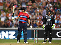 England's Dawid Malan 50 not out<br /> New Zealand Black Caps v England.Tri-Series International Twenty20 cricket. Eden Park, Auckland, New Zealand. Sunday 18 February 2018. &copy; Copyright Photo: Andrew Cornaga / www.Photosport.nz