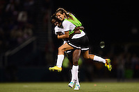 Portland Thorns midfielder Tobin Heath (17) celebrates defeating the Western New York Flash. The Portland Thorns defeated the Western New York Flash 2-0 during the National Women's Soccer League (NWSL) finals at Sahlen's Stadium in Rochester, NY, on August 31, 2013.