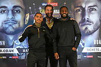 Conor Benn (L) and Joshua Buatsi during a Press Conference at Glaziers Hall on 14th February 2020