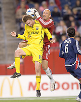 New England Revolution goalkeeper Matt Reis comes way out to intercept pass to Columbus Crew midfielder (12) Eddie Gaven. The Columbus Crew defeated the New England Revolution, 3-2, at Gillette Stadium in Foxboro, MA on October 13, 2007.