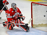 19 January 2008: Northeastern University Huskies' goaltender Brad Thiessen, a Sophomore from Aldergrove, British Columbia, is unable to make the save against the University of Vermont Catamounts at Gutterson Fieldhouse in Burlington, Vermont. The Catamounts defeated the Huskies 5-2 to close out their 2-game weekend series...Mandatory Photo Credit: Ed Wolfstein Photo