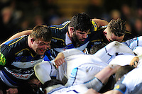 The Bath Rugby front row of David Wilson, Rob Webber and Max Lahiff pack down for a scrum. Aviva Premiership match, between Bath Rugby and Newcastle Falcons on March 18, 2016 at the Recreation Ground in Bath, England. Photo by: Patrick Khachfe / Onside Images