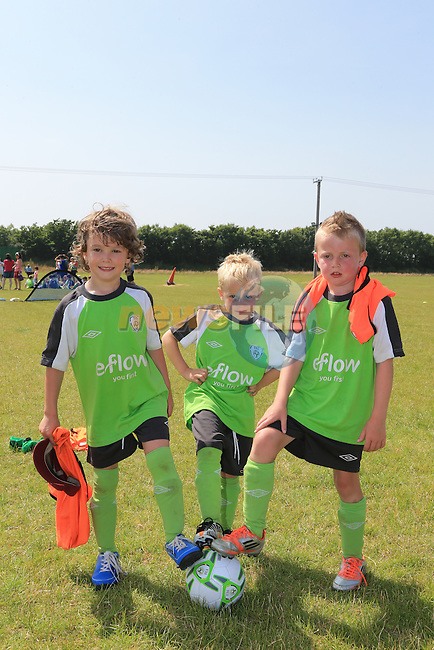 David Byrne, Traves Boyle and Sean Ryan<br /> at the East Meath United FAI Summer Camp.<br /> Picture:  www.newsfile.ie