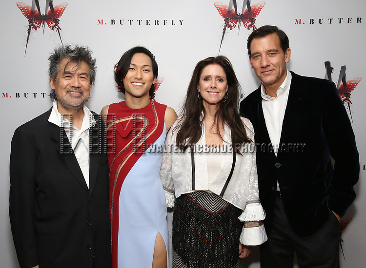 Davd Henry Hwang, Jin Ha, Julie Taymor and Clive Owen attends the Broadway Opening Night After Party for 'M. Butterfly' on October 26, 2017 at Red Eye Grill in New York City.