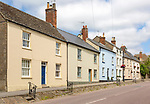 A row of Georgian stone cottages in in the Saxon town of Cricklade, Wiltshire, England, UK