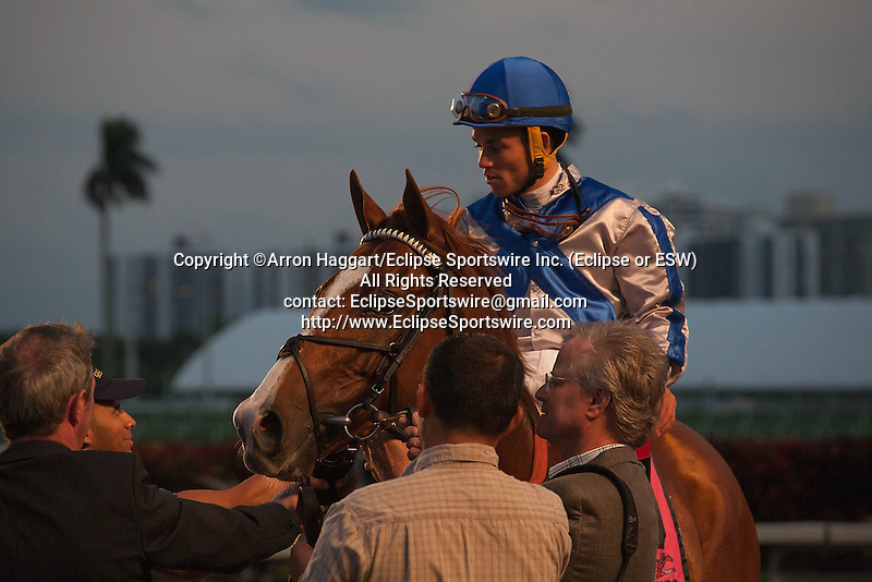 Lea, jockey Joel Rosario and connections after winning the Donn Handicap(G1) at Gulfstream Park. Gulfstream Park, Hallandale Beach Florida. 02-09-2014
