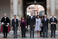 Kings of Spain, King Felipe VI of Spain and Queen Letizia of Spain delivers the Cervantes prize for literature in Spanish to the Uruguayan writer Ida Vitale at the Paraninfo of the Alcala University in the World Heritage City of Alcala de Henares near Madrid on April 23, 2019.<br /> From  L-R: Rector of the Alcala University Fernando Galvan, Alcala Mayor Javier Rodriguez, Vice Prime Minister of Spain Carmen Calvo, King Felipe VI of Spain, Queen Letizia of Spain, Spanish Culture Minister Jose Guirau, Acting President of Madrid community Pedro Rollan