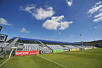 A general view of the East stand at the Recreation Ground, fitted with blue, black and white game cards. Aviva Premiership semi-final, between Bath Rugby and Leicester Tigers on May 23, 2015 at the Recreation Ground in Bath, England. Photo by: Patrick Khachfe / Onside Images