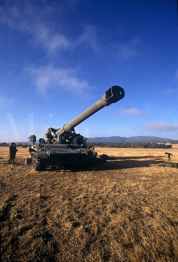 California National Guard training with track-driven howitzer at Camp Roberts