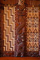 Waitangi Treaty Grounds, New Zealand.  Maori Wood Carving inside Meeting House.