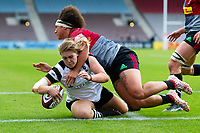 Mackenzie Carson of Bristol Bears Women scores a try in the first half. Tyrrell's Premier 15s match, between Harlequins Ladies and Bristol Bears Women on September 15, 2018 at the Twickenham Stoop in London, England. Photo by: Patrick Khachfe / Onside Images