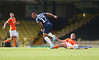 Southend United's Layton Ndukwu is challenged by Blackpool's Jay Spearing<br /> <br /> Photographer Rob Newell/CameraSport<br /> <br /> The EFL Sky Bet Championship - Southend United v Blackpool - Saturday 10th August 2019 - Roots Hall - Southend<br /> <br /> World Copyright © 2019 CameraSport. All rights reserved. 43 Linden Ave. Countesthorpe. Leicester. England. LE8 5PG - Tel: +44 (0) 116 277 4147 - admin@camerasport.com - www.camerasport.com
