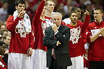 Wisconsin Badgers Head Coach Bo Ryan and his team look on during the third-round game in the NCAA college basketball tournament against the Oregon Ducks Saturday, April 22, 2014 in Milwaukee. The Badgers won 85-77. (Photo by David Stluka)