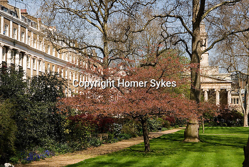 Eaton Square, private gardens. St Peters Church.  Belgravia, City of Westminster, London SW1 England. 2006