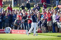Ricky Fowler (Team USA) on the 9th tee during the Saturday morning Foursomes at the Ryder Cup, Hazeltine national Golf Club, Chaska, Minnesota, USA.  01/10/2016<br /> Picture: Golffile | Fran Caffrey<br /> <br /> <br /> All photo usage must carry mandatory copyright credit (&copy; Golffile | Fran Caffrey)
