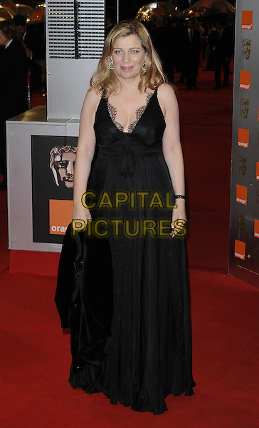 LONE SCHERFIG.Arrivals at the Orange British Academy Film Awards 2010 at the Royal Opera House, Covent Garden, London, England, UK, .21st February 2010.BAFTA BAFTAs full length long maxi black dress  sleeveless .CAP/CAN.©Can Nguyen/Capital Pictures