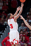 March 3, 2010: Wisconsin Badgers guard Trevon Hughes (3) shoots a 3-pointer during a Big Ten Conference NCAA basketball game against the Iowa Hawkeyes at the Kohl Center on March 3, 2010 in Madison, Wisconsin. The Badgers won 67-40. (Photo by David Stluka)