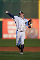Connecticut Tigers shortstop Keaton Jones (17) throws to first during the first game of a doubleheader against the Brooklyn Cyclones on September 2, 2015 at Senator Thomas J. Dodd Memorial Stadium in Norwich, Connecticut.  Brooklyn defeated Connecticut 7-1.  (Mike Janes/Four Seam Images)