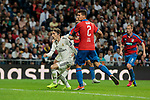 Real Madrid's Luka Modric and FC Viktoria Plzen's Lukas Hejda during UEFA Champions League match between Real Madrid and FC Viktoria Plzen at Santiago Bernabeu Stadium in Madrid, Spain. October 23, 2018. (ALTERPHOTOS/A. Perez Meca)