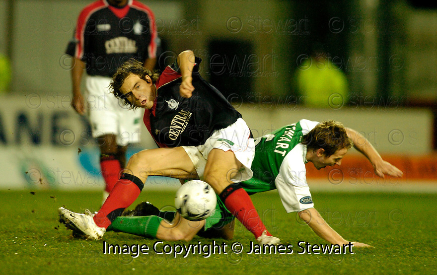 16/12/2006       Copyright Pic: James Stewart.File Name :sct_jspa15_falkirk_v_hibernian.ALAN GOW AND MICHAEL STEWART CHALLENGE.....James Stewart Photo Agency 19 Carronlea Drive, Falkirk. FK2 8DN      Vat Reg No. 607 6932 25.Office     : +44 (0)1324 570906     .Mobile   : +44 (0)7721 416997.Fax         : +44 (0)1324 570906.E-mail  :  jim@jspa.co.uk.If you require further information then contact Jim Stewart on any of the numbers above.........