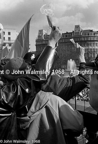 American draftees burn their draft papers, anti-Vietnam war demonstration march from Trafalgar Sq to Grosvenor Sq Sunday 17th March 1968.