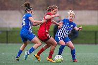 Allston, MA - Sunday, May 1, 2016:  Boston Breakers midfielder Angela Salem (26), Portland Thorns FC midfielder Lindsey Horan (7) and Boston Breakers midfielder McCall Zerboni (77) in a match at Harvard University.