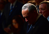 Senate Minority Leader Charles Schumer, D-NY, bows his heard in prayer during the  memorial service for Sen. John McCain, R-Ariz., in the Capitol Rotunda where he will lie in state at the U.S. Capitol, in Washington, DC on Friday, August 31, 2018. McCain, an Arizona Republican, presidential candidate, and war hero, died August 25th at the age of 81. He is the 31st person to lie in state at the Capitol in 166 years. Photo Ken Cedeno/UPI