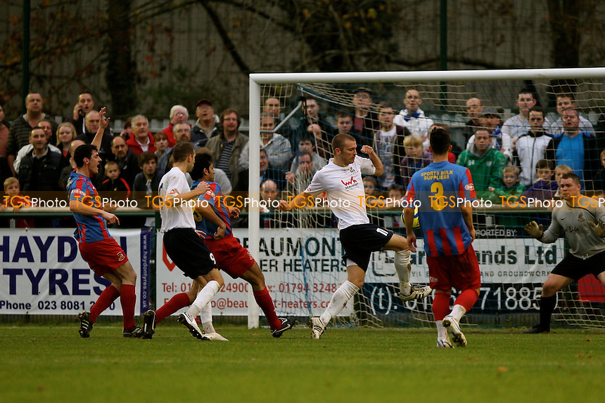 Totton's Michael Gosney scores his second goal of the afternoon to make it 4-1 - AFC Totton vs Bradford Park Avenue - FA Challenge Cup 1st Round Football at the Testwood Stadium - 12/11/11 - MANDATORY CREDIT: Andy Nunn/TGSPHOTO - Self billing applies where appropriate - 0845 094 6026 - contact@tgsphoto.co.uk - NO UNPAID USE.