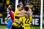 11.03.2018, Signal Iduna Park, Dortmund, GER, 1.FBL, Borussia Dortmund vs Eintracht Frankfurt, <br /> <br /> im Bild | picture shows:<br /> Marco Reus (Borussia Dortmund #11) trifft nach Vorlage von Christian Pulisic (Borussia Dortmund #22) zum 1:0 und jubelt mit ihm und Andre Schuerrle (Borussia Dortmund #21), <br /> <br /> <br /> Foto &copy; nordphoto / Rauch
