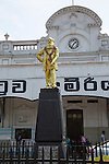 Statue of Colonel Henry Steele Olcott, American Buddhist, Fort Railway Station, Colombo, Sri Lanka, Asia