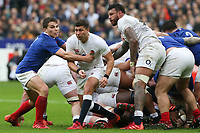 2nd February 2020, Stade de France, Paris; France, 6-Nations International rugby union, France versus England;  Antoine Dupont (France) tries to intercept as Ben Youngs (Eng) plays the ball outside