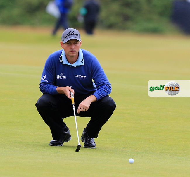 David HOWELL (ENG) lines up his putt on the 4th green during Sunday's Round  of the 144th Open Championship, St Andrews Old Course, St Andrews, Fife, Scotland. 19/07/2015.<br /> Picture Eoin Clarke, www.golffile.ie