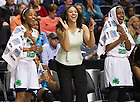 Apr. 6, 2014; Notre Dame Fighting Irish Lindsay Allen, Natalie Achonwa and Jewell Loyd cheer their teammates on during the last minutes against the Maryland Terrapins in the semifinals of the NCAA Final Four tournament at the Bridgestone Arena in Nashville, Tenn. Photo by Barbara Johnston/University of Notre Dame