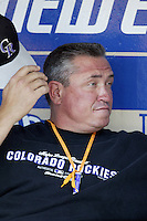 Colorado Rockies Manager Clint Hurdle before a 2002 MLB season game against the Los Angeles Dodgers at Dodger Stadium, in Los Angeles, California. (Larry Goren/Four Seam Images)