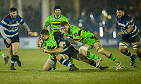 Northampton Saints' Piers Francis is tackled by. Bath Rugby's Josh Bayliss<br /> <br /> Photographer Bob Bradford/CameraSport<br /> <br /> Anglo-Welsh Cup Semi Final - Bath Rugby v  Northampton Saints - Friday 9th March 2018 - The Recreation Ground - Bath<br /> <br /> World Copyright &copy; 2018 CameraSport. All rights reserved. 43 Linden Ave. Countesthorpe. Leicester. England. LE8 5PG - Tel: +44 (0) 116 277 4147 - admin@camerasport.com - www.camerasport.com