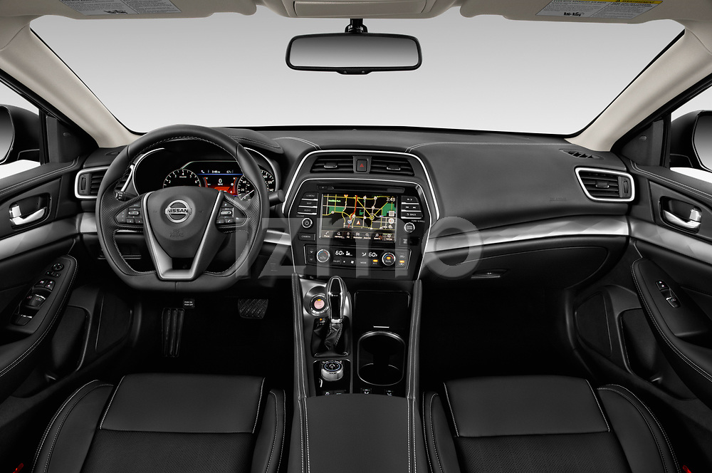 Stock photo of straight dashboard view of 2019 Nissan Maxima SV 4 Door Sedan Dashboard